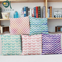 Y Acuarela tira tejida almohadas decorativas de la vendimia geométrica cojín rosa verde púrpura funda de almohada para el sofá zig zag