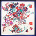 90cm*90cm New Fashion Silk Square Scarf Women Imitated Silk National Wind Flower Butterfly Printed Scarves Shawl Hijab