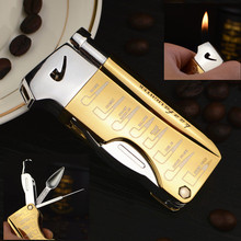 Multifuction Inflatable Smoking Pipe Lighter with Spoon Pressing Bar Special Slanted Flame Cigarette Encendedor Gadgets For Men
