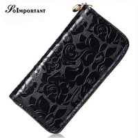 Excellent Quality PU Leather Women Wallets Female Solid Emboss Flower Purse 2016 Famous Brand Standard Wallets