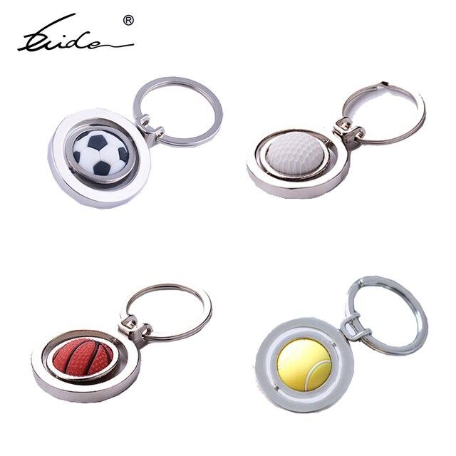 Venta al por mayor 10 piezas de baloncesto deportivo pelota de fútbol voleibol llavero giratorio llavero Metal llavero regalo para fiesta de Club
