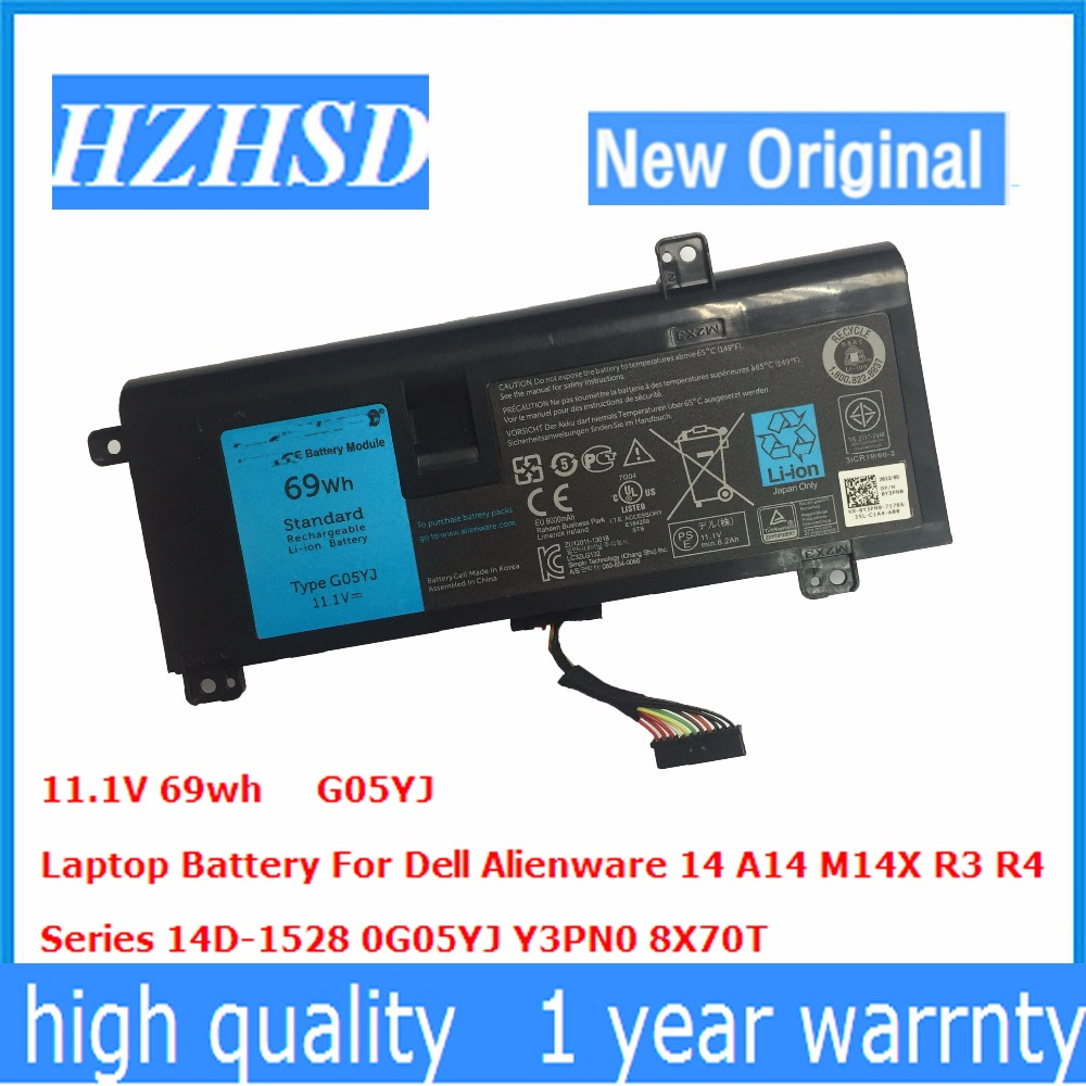 11.1 V 69wh New Original G05YJ Batterie D'ordinateur Portable Pour Dell Alienware 14 A14 M14X R3 R4 Série 14D-1528 G05YJ 0G05YJ Y3PN0 8X70 T