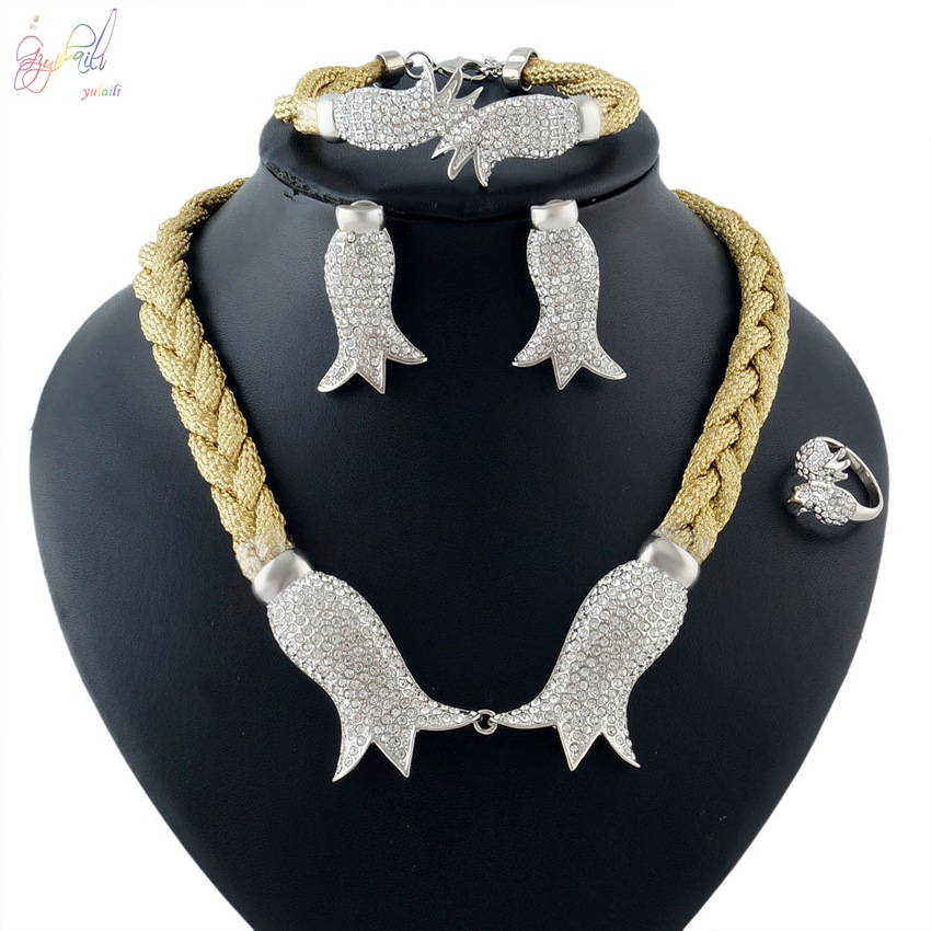 YULAILI Wedding Jewelry Set for Women Gold Color Necklace Bracelet Earrings Ring Set Parure Bijoux Femme Accessories цены