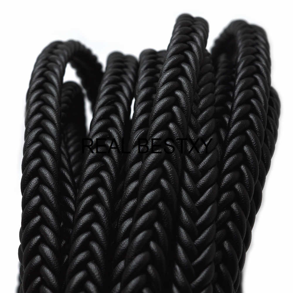 REAL BESTXY 1m/lot 12mm*6mm braided leather cord for bracelet making round strings braided leather cords for bracelet jewelry
