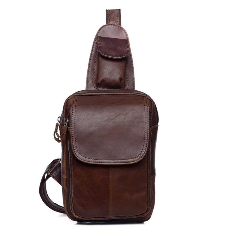 Sling Shoulder Mens Messenger Pack Genuine Chest Cowhide Leather Bag fashion string sling pack