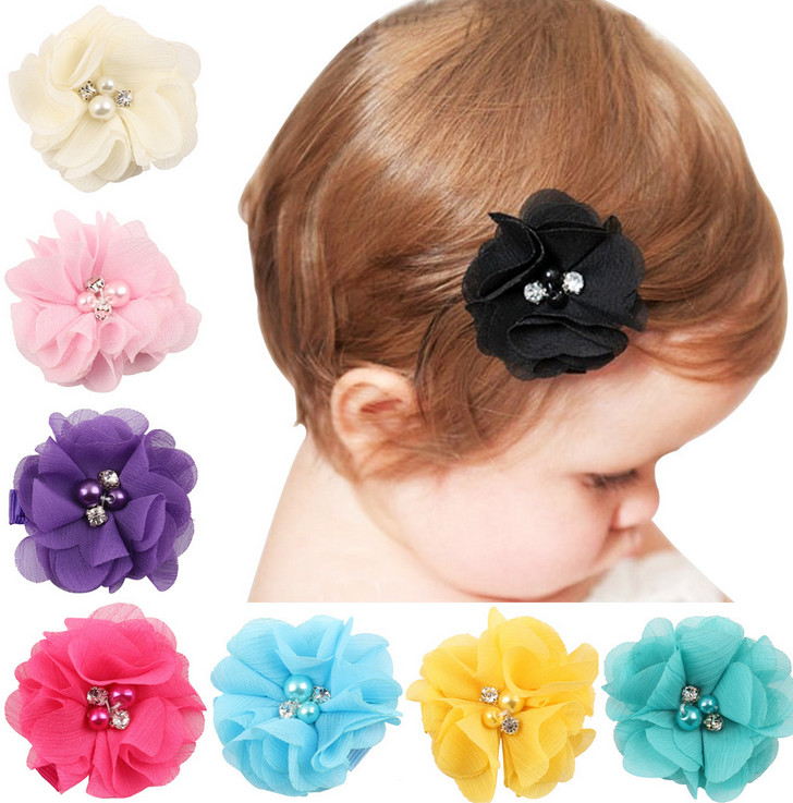 Newest Children Hair Accessories Flower Solid Hairpins Clip Baby Band Infant Bobby
