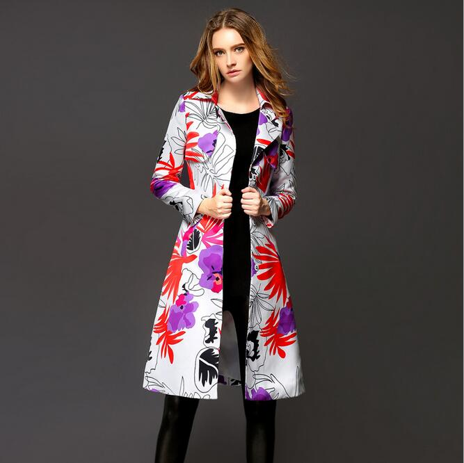 Trench Coat For Women fashion Lapel Collar Print Long Trench Coat British Designer Trench Womens Coats Windbreaker