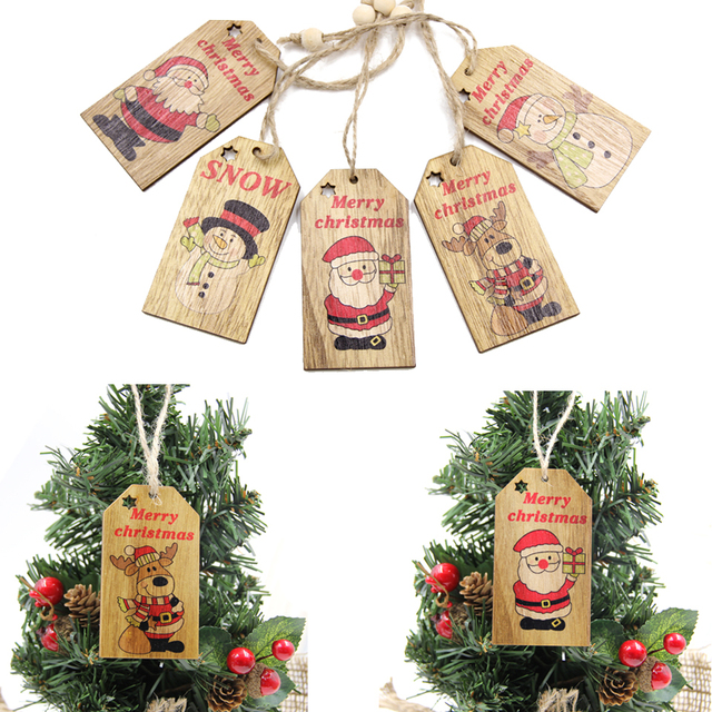 Us 2 6 Aliexpress Com Buy 5pcs Merry Christmas Wooden Pendant Ornaments Diy Wood Crafts For Home Decor Xmas Tree Ornament Christmas Party