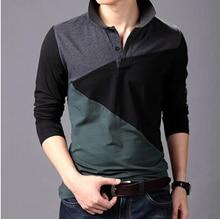 Polo Manga Larga Plus Size 3XL 4XL 5XL 6XL Patch Contrast Color Camisas Polo 95% Cotton 5% Lycra High Quality Men Polo Shirts