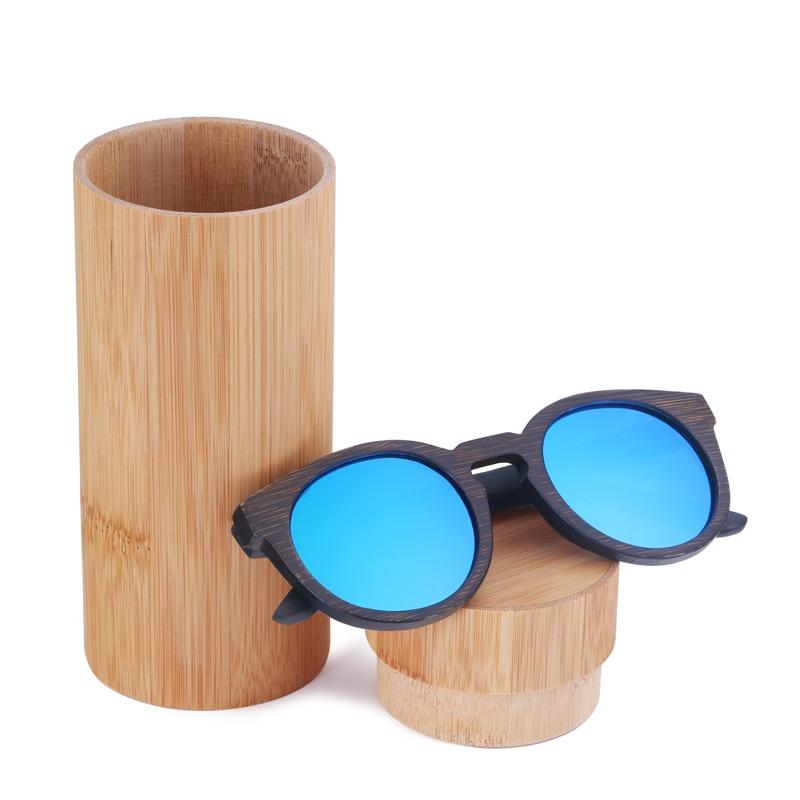BerWer bambusové sluneční brýle pro muže Ženy polarizované bambusové sluneční brýle Wood round Oculos
