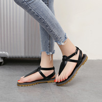 Summer New PU Solid Color Roman Sandals Round Muffin With Thick Bottom Large Size Flat Sandals