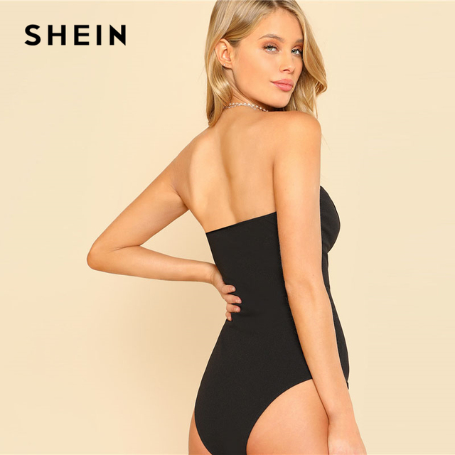 SHEIN Sexy Sweetheart Bustier Bodysuit Black Sleeveless Backless Plain Rompers With Lining 2018 Summer Skinny Bodysuit 1