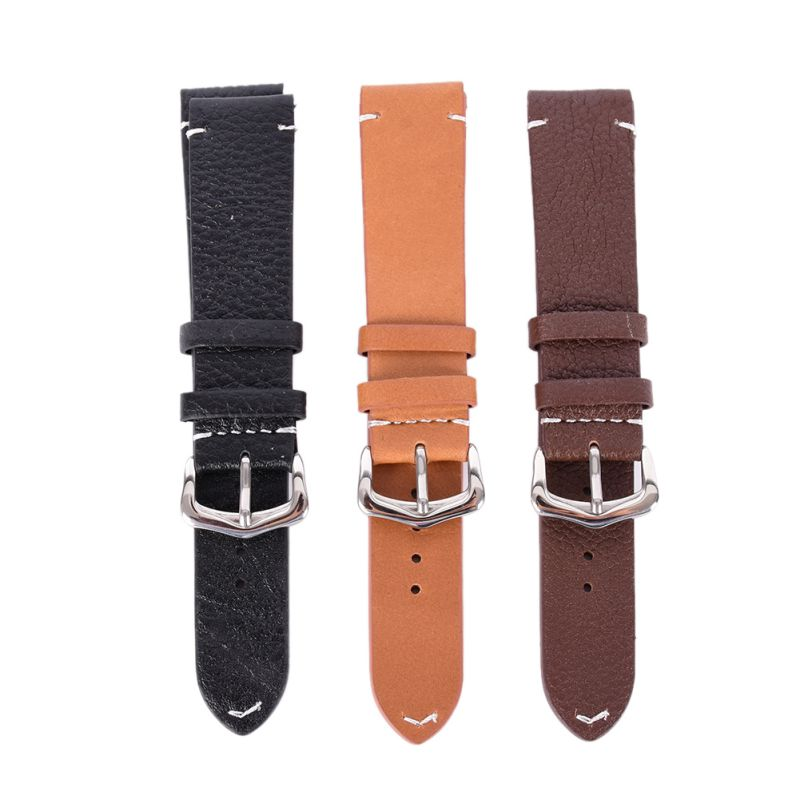 Men Women Vintage Style Faux Leather Watch Strap Band Buckle Belt 18mm 20mm 22mm eache silicone watch band strap replacement watch band can fit for swatch 17mm 19mm men women