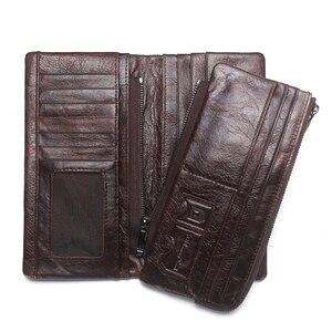 Image 3 - 2020 nowych mężczyzna portfele prawdziwej skóry wołowej długo odpinany zamek monety kiesy rocznika mężczyzna telefon sprzęgłowa torba z Whipstitch wykończenia
