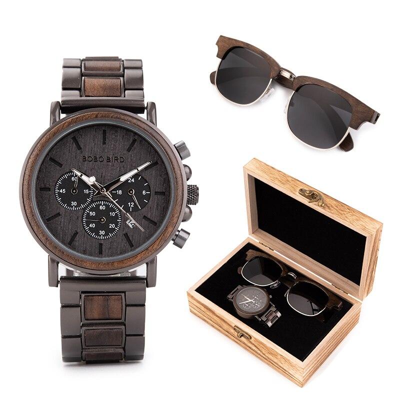 Men Watch Sunglasses Women BOBO BIRD Relogio Masculino In Suit Present Box Wristwatch Male Stopwatch Saat Erkek Timepieces