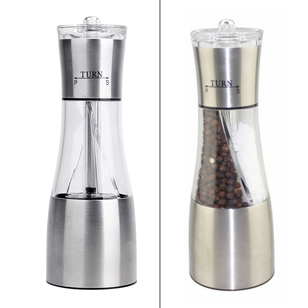 2 in 1 Salt Pepper Mill Spices Peppercorn Grinder Steel Manual Kitchen Manual Garam Pepper Mill Muller Tool