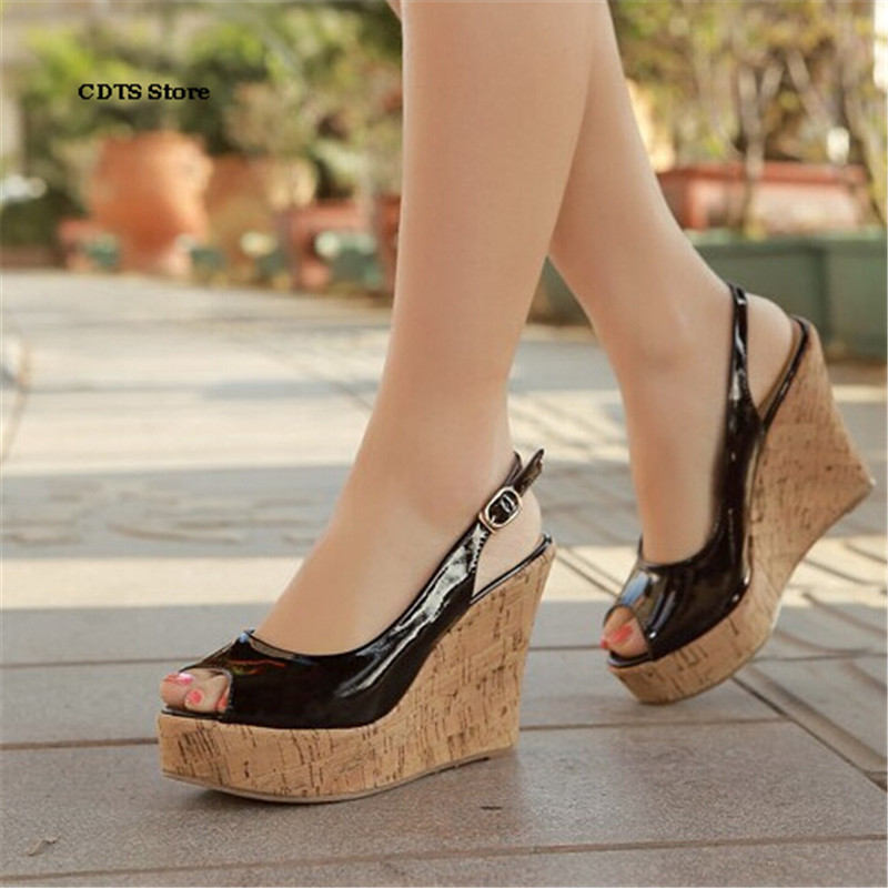 CDTS Small Yards:30 31 32 33-Plus:43 Brand Ladies wedges sandals high heels platform Ankle Strap shoes woman wedding pumps sandals genuine leather new woman s shoes high heel 10cm platform 1cm female summer small yards small yards eur size 34 39 page 5