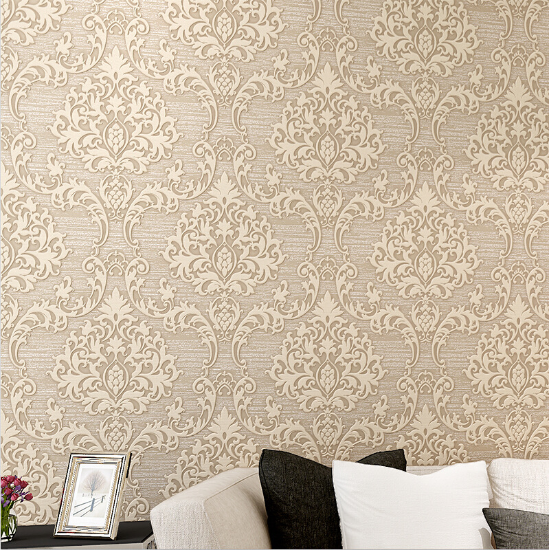 Vintage Damask Non woven Wallpaper Removable Wallpaper Decorations Green Golden Quarto Decal ...