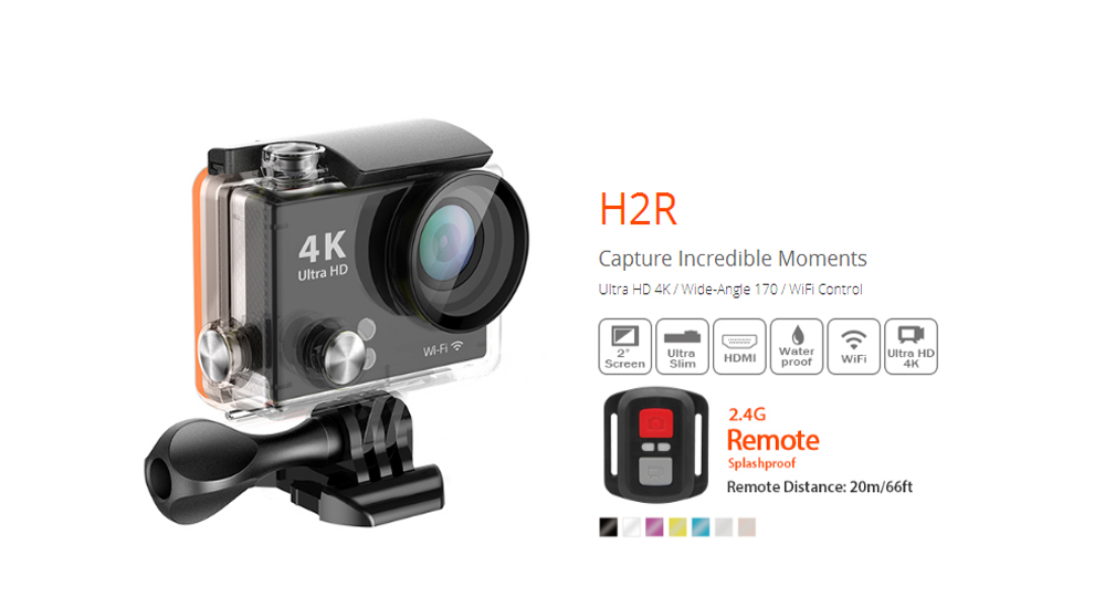 ФОТО Action Video Camera Mini Remote Control Action Camera Ultra HD 4K Waterproof 2.0 LCD 170 Lens WIFI Helmet Cam Sports DV H2 H2R
