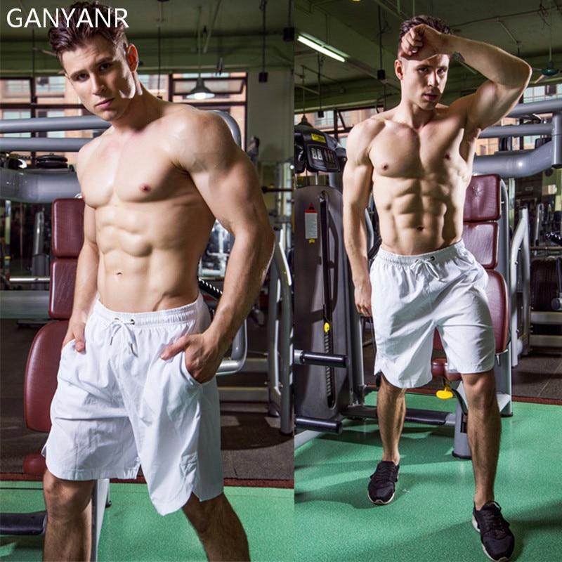 Ganyanr Brand Running Shorts Men Basketball Gym Sports Athletic Leggings Solid Middle -9388