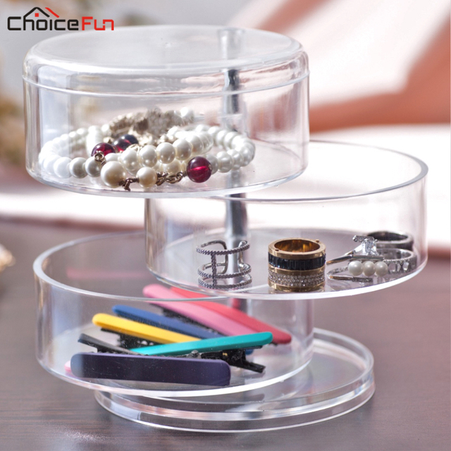 Choicefun Dresser 4 Layer Round Rotating Acrylic S Hair Accessories Box Clear Plastic Small Things Container For Storage
