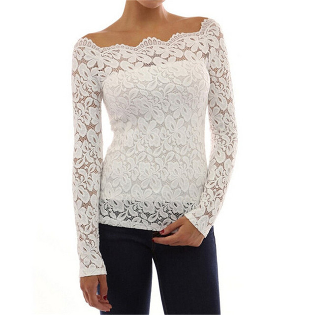 White Shirt Women  Sexy Lace Tops And Blouses Long Sleeve Slash Neck Solid Shirts Casual