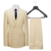 Beige Double Breasted Suit Lapels Suit Custom Order Coat And Pants Officially Important Business Attire