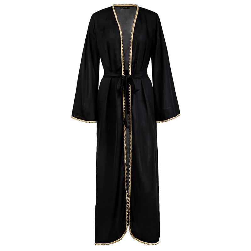 Dubai-Dress Abaya Turkish-Cardigan Arab Clothing Muslim-Robe Moroccan Kaftan Kuftan Women