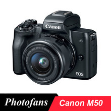 Canon Câmera Mirrorless com EF-M M50 15-45mm f/3.5-6.3 IS STM Lens, preto-24.1MP APS-C-4 K-Vari-Ângulo Touchscreen-Wi-fi(China)