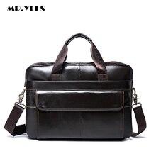 MR.YLLS Fashion Genuine Leather Laptop Bags For Men High Capacity Men Shoulder Bag Leather Crossbody Computer Messenger Bag