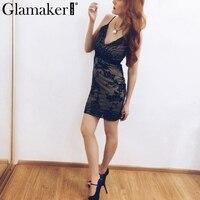 Glamaker Elegant Mesh Sequin Dress 2016 Sexy V Neck Backless Party Bodycon Sundress Women Slim Club