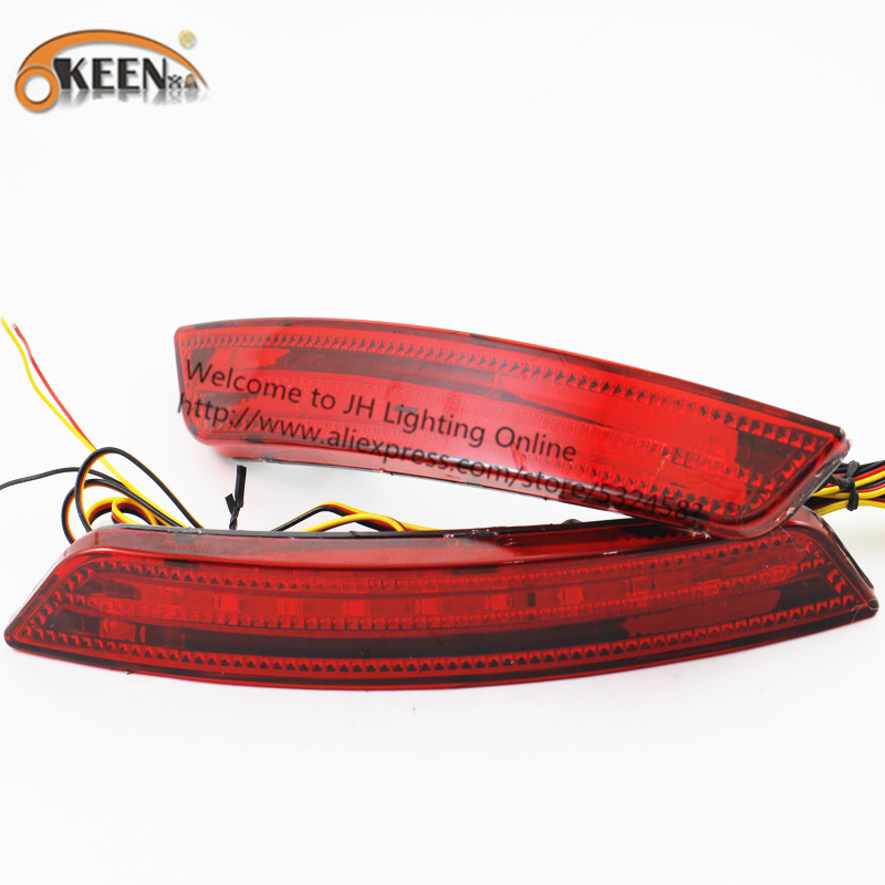 OKEEN 2Pcs/lot LED External Light Rear lamp For Ford Lens 12V Red Brake Stop Lamp LED Strip Car styling Hot sale In 2016 Russia