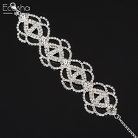 Ecesha Luxury Crystal Charm Flower Chain Link Bracelets Bangles Wide Created Diamond Friendship Bracelet Femme Wedding