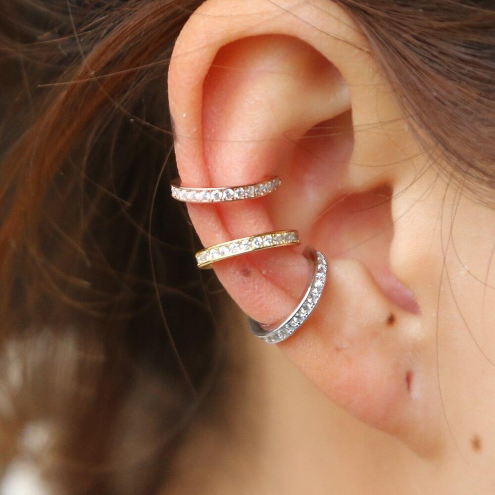 Pendientes de plata de ley 925 brazalete de oído Clip ronda cz círculo pila 3 colores No Piercing pendiente de las mujeres Accesorios
