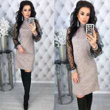 5917e10885bf Women Vintage Lace Patchwork Straight Dress Elegant Long Sleeve Mini Sexy  Dresses 2019 Spring Casual Women