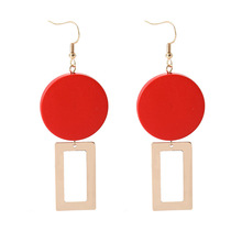 Europe Nightclub Style Earrings for Women Temperament Retro Geometric Girl Red Wood Square Personality Exquisite Earring pair of noble retro style rhinestone embellished geometric shape earrings for women