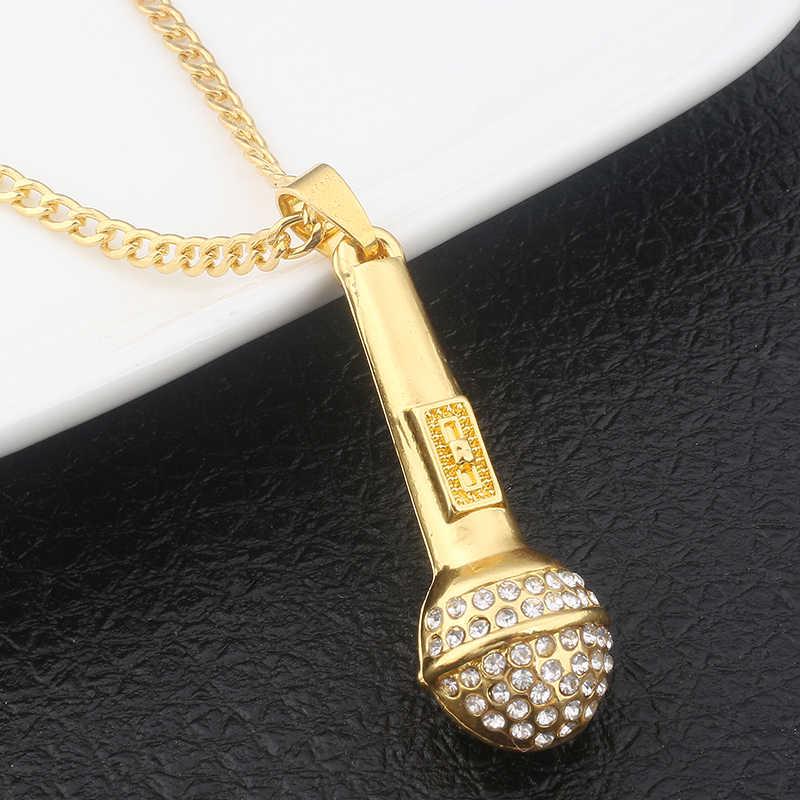 SC новый хит продаж Золотой хип хоп ледяной выход Bling музыка стереоскопический кулон «микрофон» ожерелье для мужчин и женщин ювелирные изделия