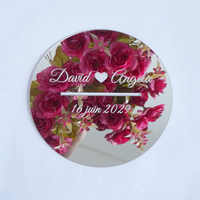 Custom Wedding Mirror Round Box With Lip Cover Long Hole for Donation Party Decor Bridal Favors Personalized Verlobungs Tablet