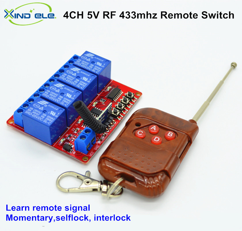 433mhz RF Digital Radio Remote Control Switches DC 5V 4CH 10A Receiver + Transmitter Learning Code For Light Gate remote control switches dc 12v 2ch receiver long range remote control transmitter 50 1000m 315 433 rx tx 2ch relay learning code