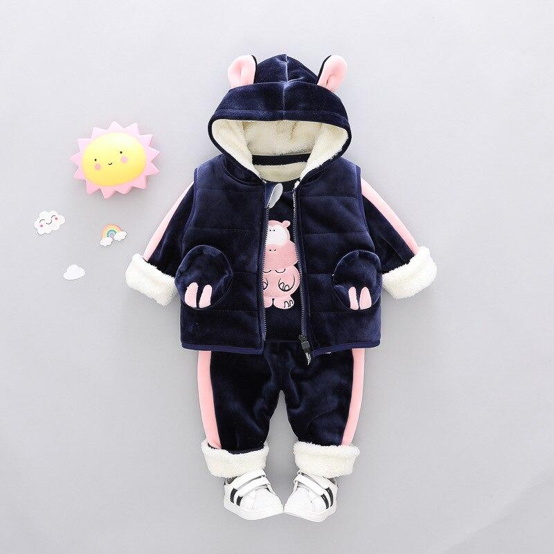 Bébé vêtements d'hiver 3 pièces costume pour enfant en bas âge garçon fille dessin animé lettre enfants à capuchon Pleuche velours ensembles vêtements 1 2 3 4 ans