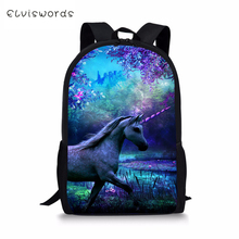 ELVISWORDS Fashion Childrens Backpack Unicorn Horse Prints Pattern Kids Cartoon Toddler Primary School Book Bags