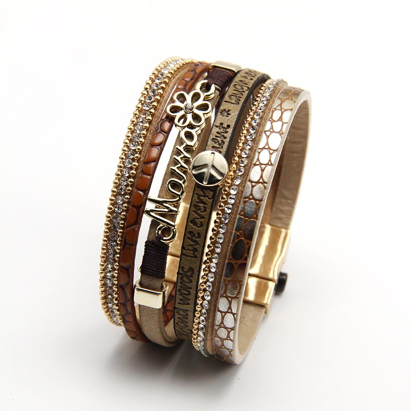 ZG Jewelry Bracelets for Women Multi-layer Leather Rope Rhinestone Alloy Accessories Mama love Bangle Bracelete Feminino a suit of cute rhinestone elephants alloy bracelets for women