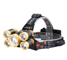 USB Rechargeable Headlight Headlamp 1T6+4xpe LED Head Lamp Flashlight Torch Head Light Lantern 18650 Battery
