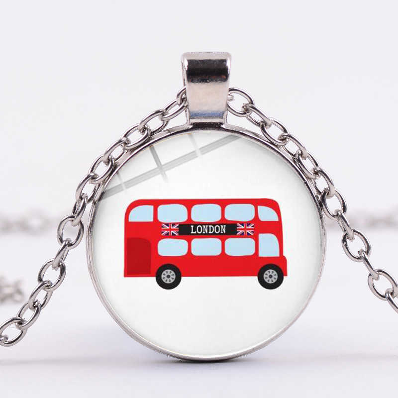 SONGDA New Listing London Double Decker Bus Cartoon Necklace London City Life Red Travel Bus Photo Glass Dome Time Gem Jewelry