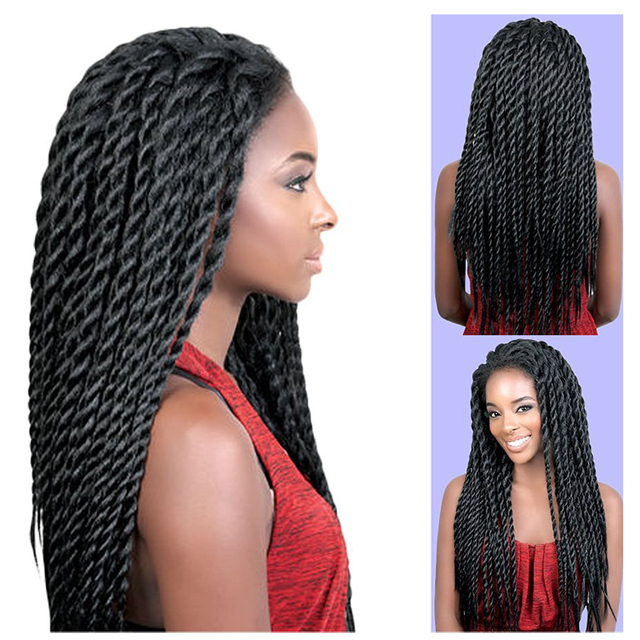 Synthetic Lace Front Wigs Havana Mambo Twist Braid Wig Long Women Lace Braids Wigs 24'' Afro Wigs for Black Women