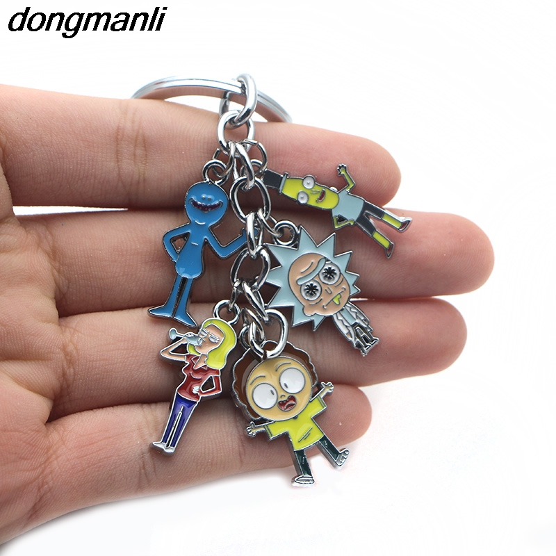 P1324 20pcs/lot Dongmanli wholesale TV jewelry Anime rick and morty figures cosplay car keychain keyring paper card packaging