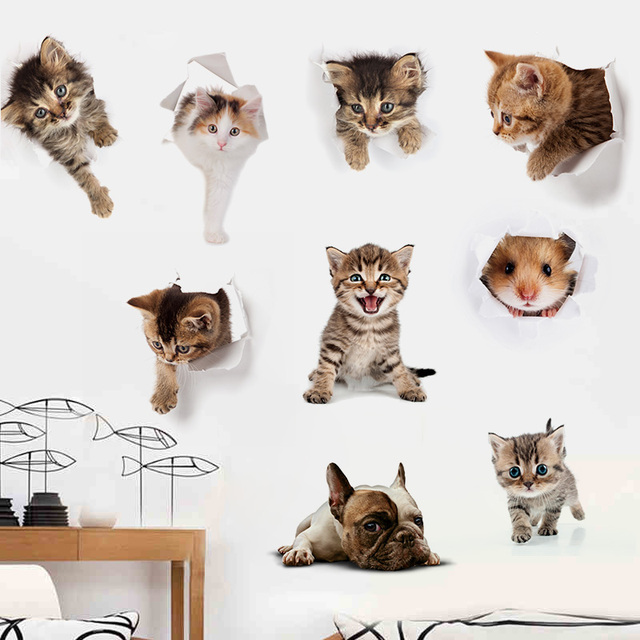 Hole View Cats Dog Hamster 3D Wall Stickers Bathroom Toilet Living Room Kitchen Decorations Animal PVC Decals Art Sticker Poster