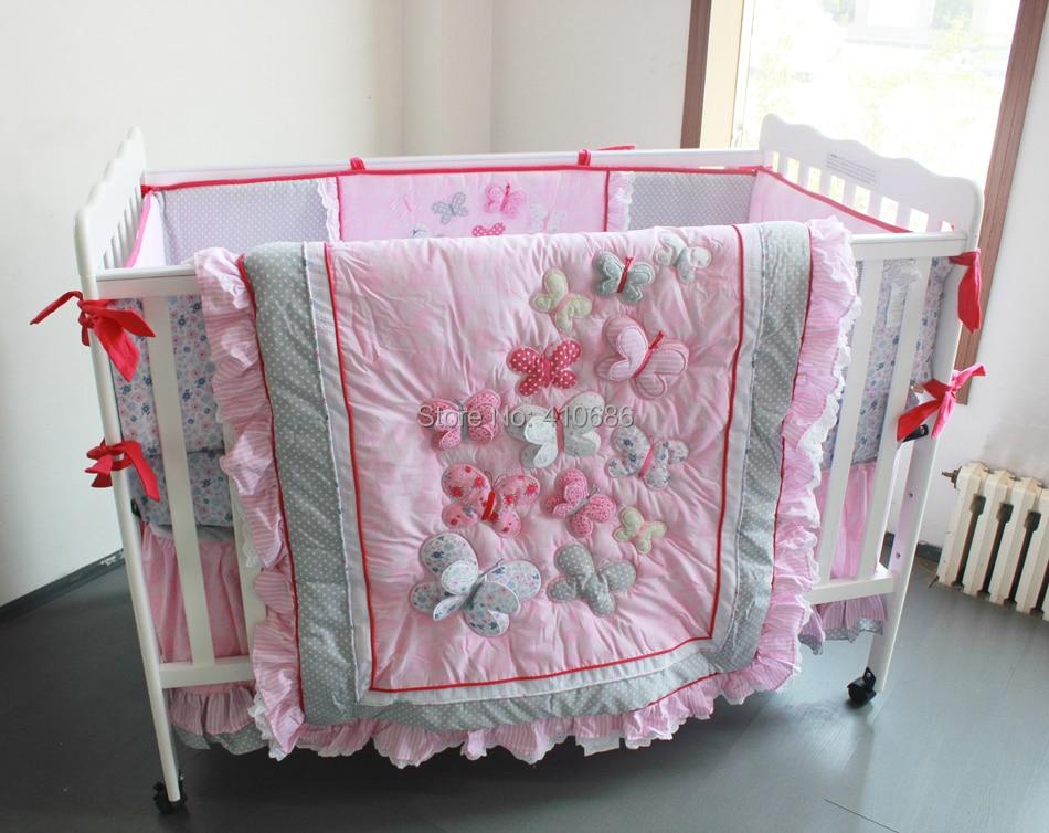 elegant princess baby crib bedding sets 7pcs nursery cot kit set 3d pink butterflys lace quilt bumper sheet skirt for girlsin bedding sets from mother