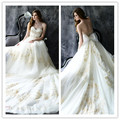 2017 Luxury Bridal Gowns Sweetheart Strapless A Line Gold Bead Appliques Floor length Chapel Train Bow Backless Wedding Dress LX