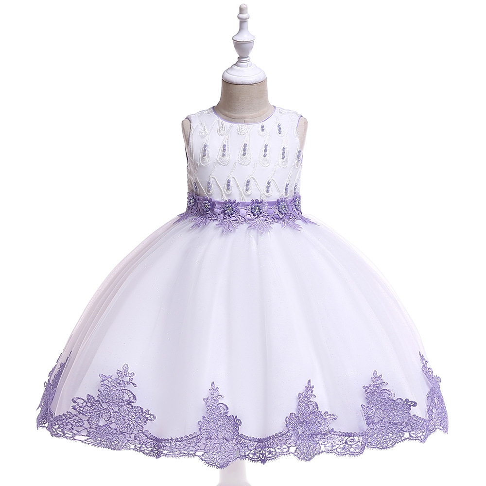 Cute Purple Ballgown Lace   Flower     Girl     Dresses   For Evening Party First Communion   Dresses   2019 in Stock